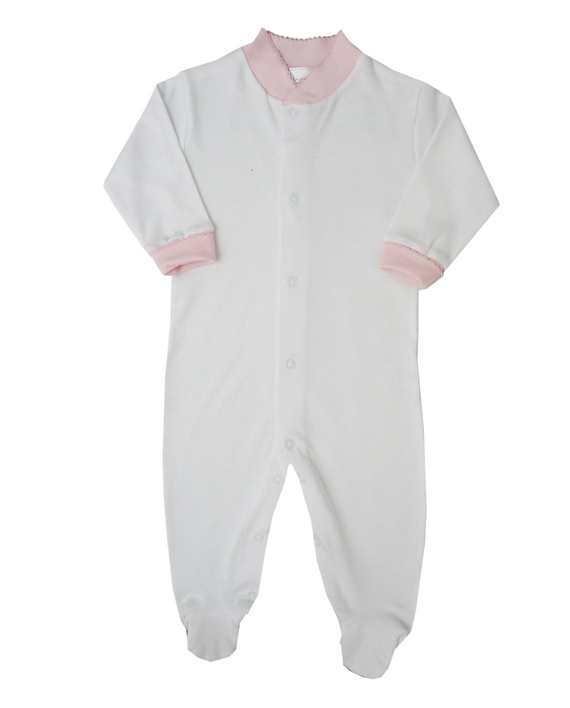 Pima Cotton Footie Basic Solid White, Color Cuffs ECCH – Pima Cotton ...
