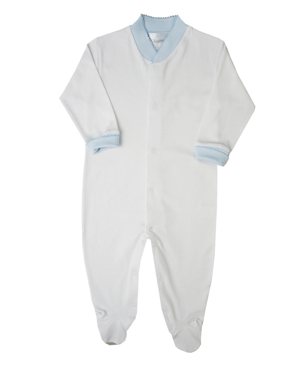 Pima Cotton Footie Basic Solid White Color Cuffs Ecch Pima Cotton